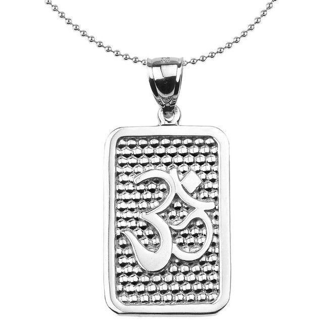 Sterling Silver Om/Ohm Engravable Pendant Necklace