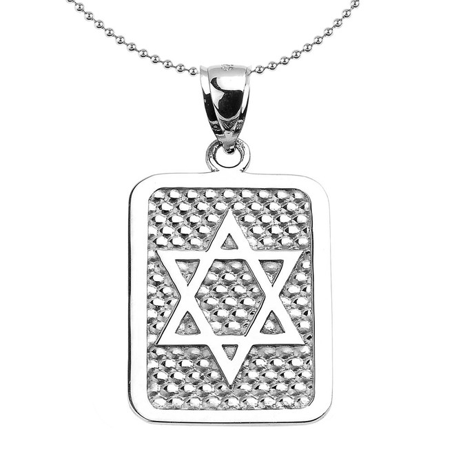 Sterling Silver Star of David Engravable Pendant Necklace