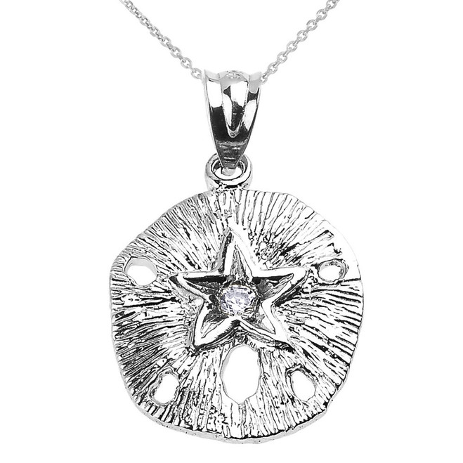 White Gold Sand Dollar CZ Pendant Necklace