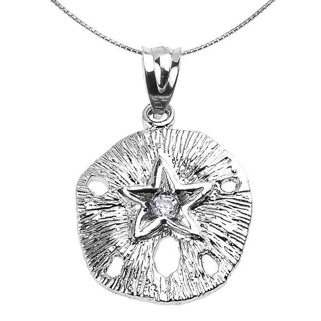 Sterling Silver Sand Dollar CZ Pendant Necklace