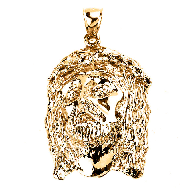 Yellow Gold Jesus Face Pendant