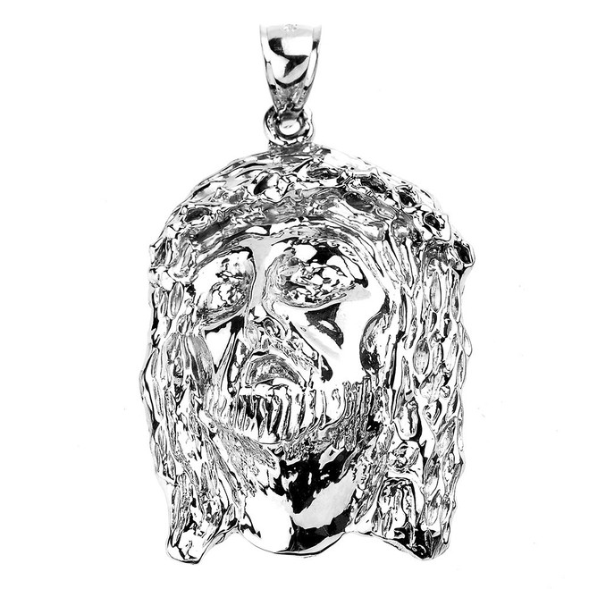 Sterling Silver Jesus Face  Pendant Necklace
