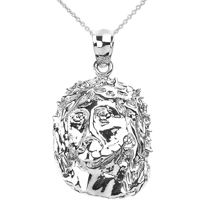Polished White Gold Jesus Face Pendant Necklace