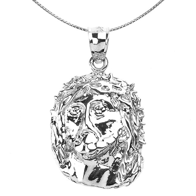 Polished Sterling Silver Jesus Face Pendant Necklace