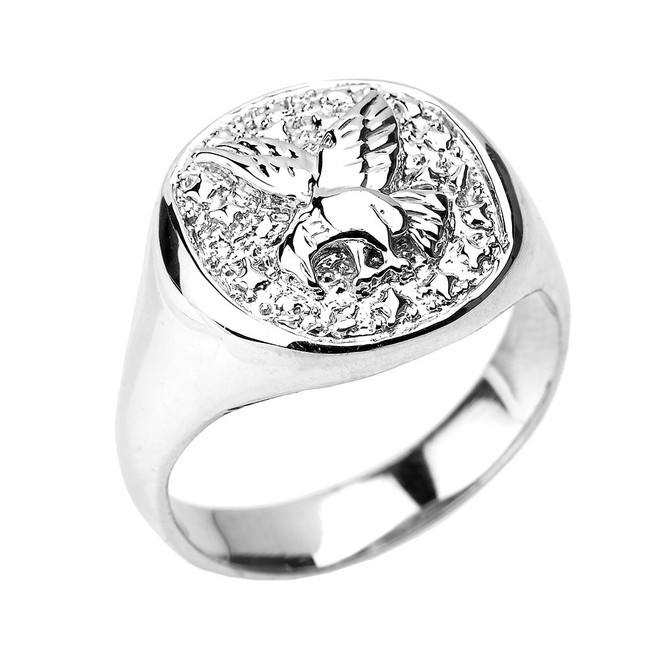 White Gold Landing Eagle Men's Ring
