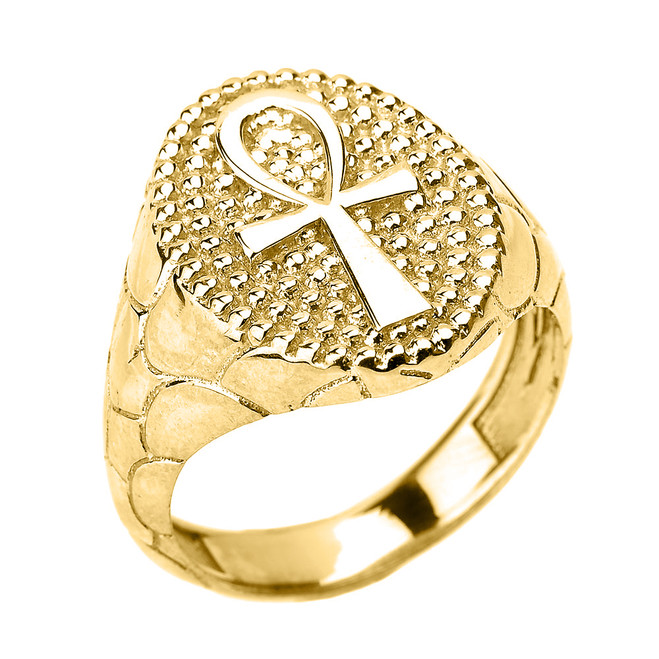 Yellow Gold Egyptian Ankh Cross Men's Ring