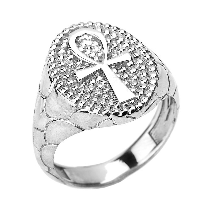 White Gold Egyptian Ankh Cross Men's Ring