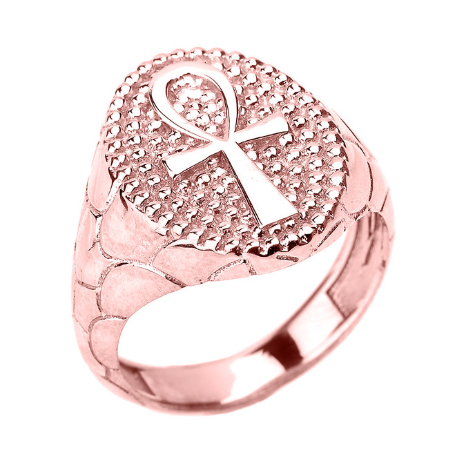 Rose Gold Egyptian Ankh Cross Men's Ring