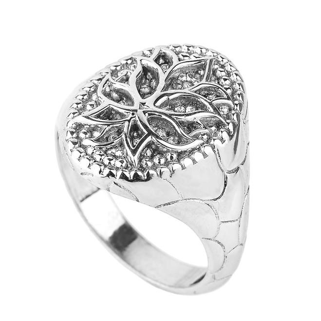 White Gold Lotus Blossom Flower Men's Ring