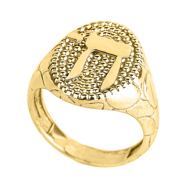 Yellow Gold Chai Men's Ring