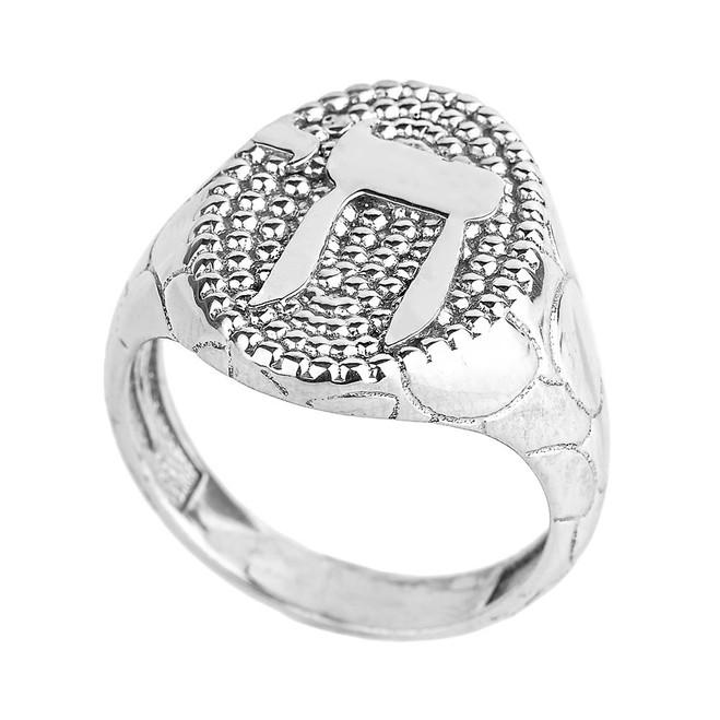 White Gold Chai Men's Ring