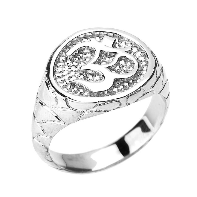 White Gold Textured Band Om/Ohm Men's Ring