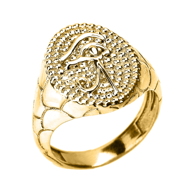 Yellow Gold Textured Band Eye of Horus Men's Ring