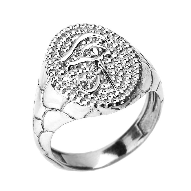 White Gold Textured Band Eye of Horus Men's Ring
