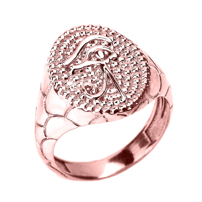 Rose Gold Textured Band Eye of Horus Men's Ring