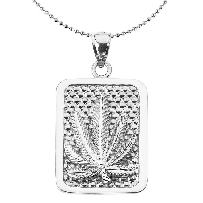 Sterling Silver Marijuana Cannabis Leaf Engravable Pendant Necklace