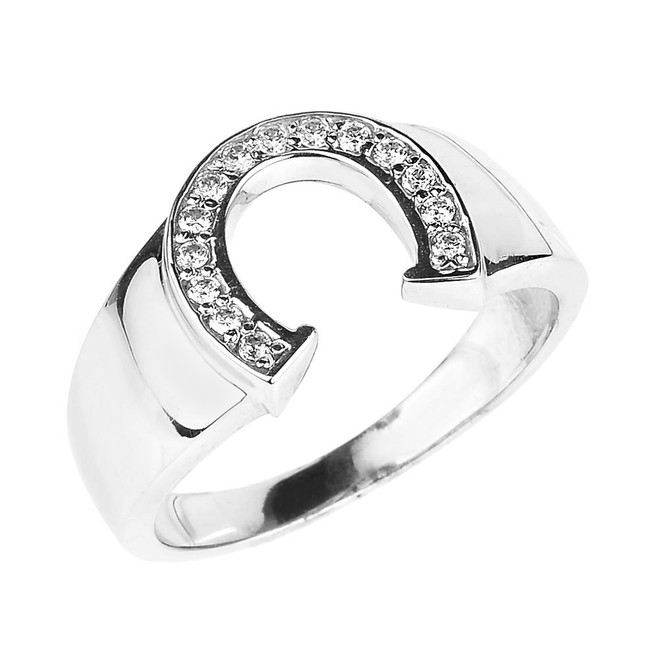 White Gold Cubic Zirconia Horseshoe Men's Ring