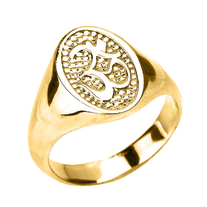 High Polished Yellow Gold Om/Ohm Men's Ring