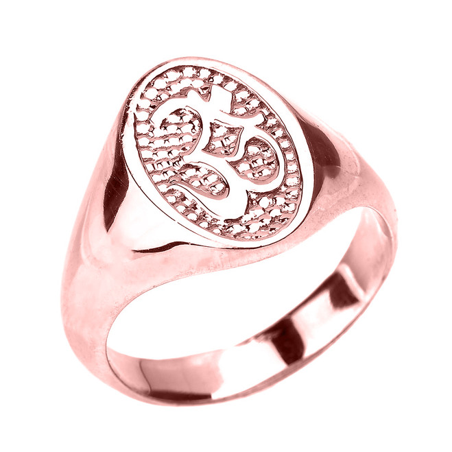 High Polished Rose Gold Om/Ohm Men's Ring