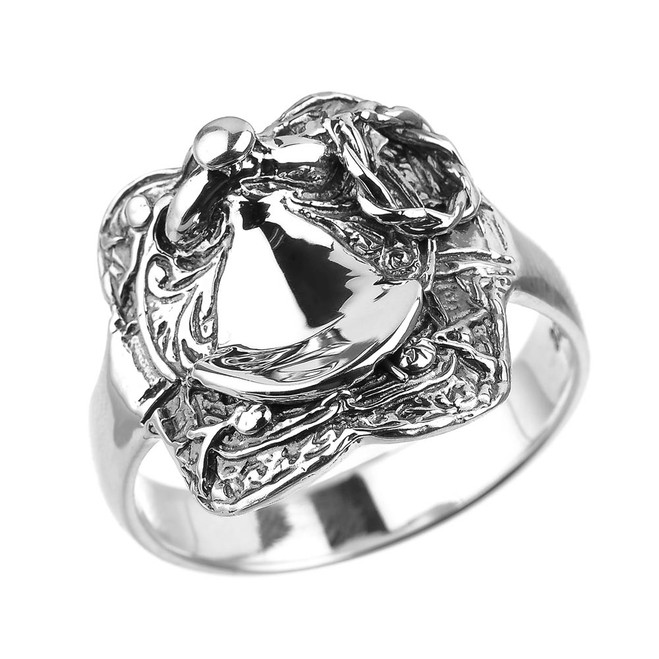 Sterling Silver Horse Saddle Men's Ring