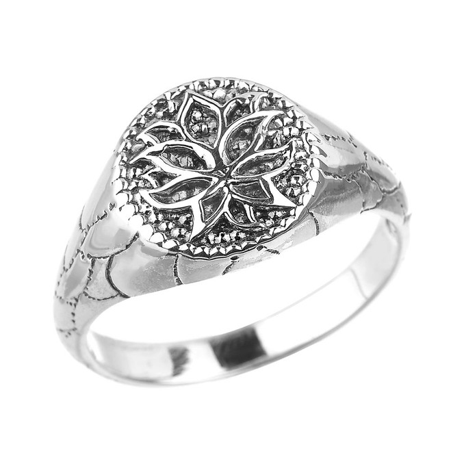 Sterling Silver Round Lotus Flower Unisex Ring