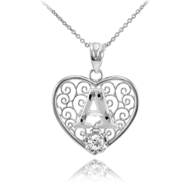 "White Gold Filigree Heart ""A"" Initial CZ Pendant Necklace"