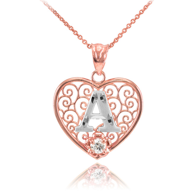 "Two Tone Rose Gold Filigree Heart ""A"" Initial CZ Pendant Necklace"