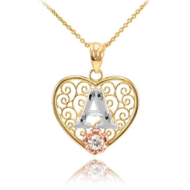 "Two Tone Yellow Gold Filigree Heart ""A"" Initial CZ Pendant Necklace"