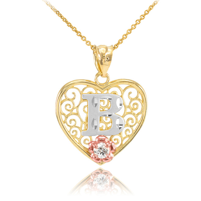 """Two Tone Yellow Gold Filigree Heart """"B"""" Initial CZ Pendant Necklace"""