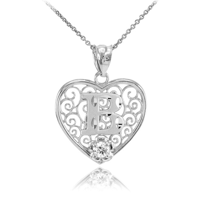 "Silver Filigree Heart ""B"" Initial CZ Pendant Necklace"