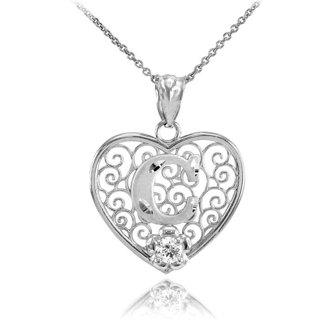 "White Gold Filigree Heart ""C"" Initial CZ Pendant Necklace"