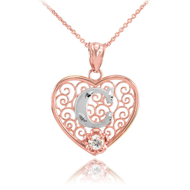 "Two Tone Rose Gold Filigree Heart ""C"" Initial CZ Pendant Necklace"