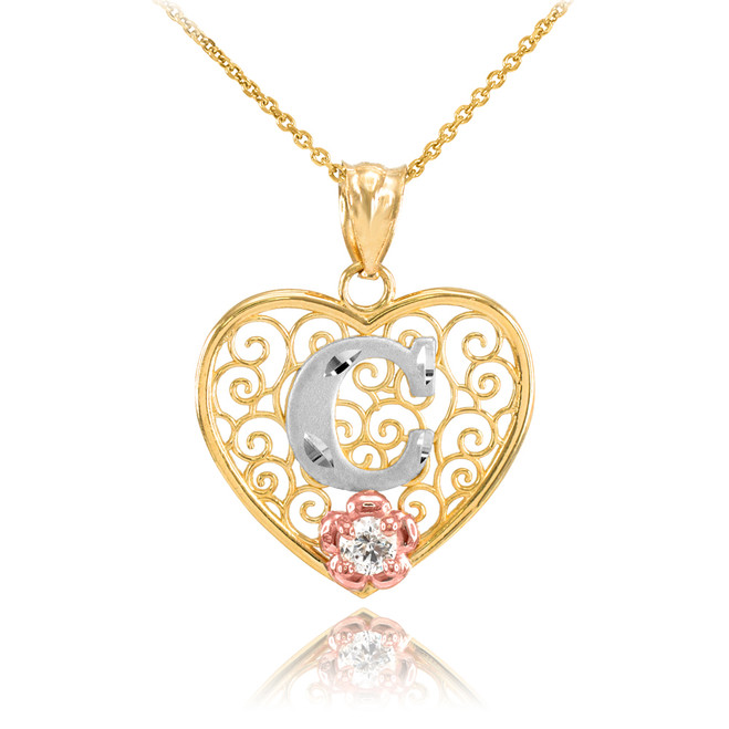 "Two Tone Yellow Gold Filigree Heart ""C"" Initial CZ Pendant Necklace"