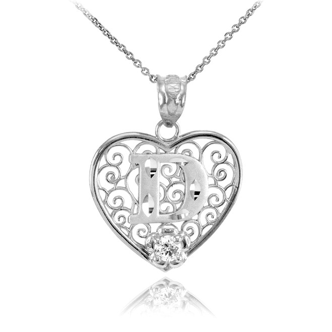 """White Gold Filigree Heart """"D"""" Initial CZ Pendant Necklace"""