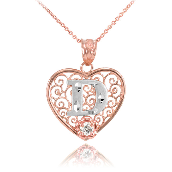 "Two Tone Rose Gold Filigree Heart ""D"" Initial CZ Pendant Necklace"