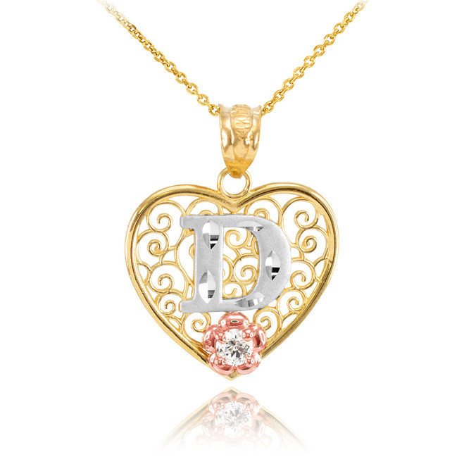 "Two Tone Yellow Gold Filigree Heart ""D"" Initial CZ Pendant Necklace"