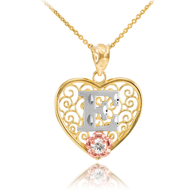 "Two Tone Yellow Gold Filigree Heart ""E"" Initial CZ Pendant Necklace"