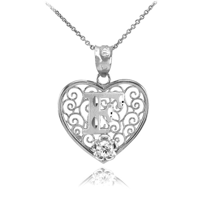 """White Gold Filigree Heart """"F"""" Initial CZ Pendant Necklace"""