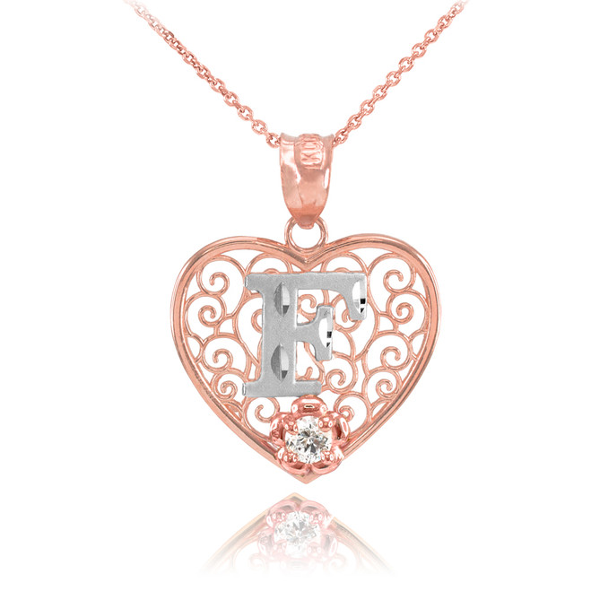 """Two Tone Rose Gold Filigree Heart """"F"""" Initial CZ Pendant Necklace"""