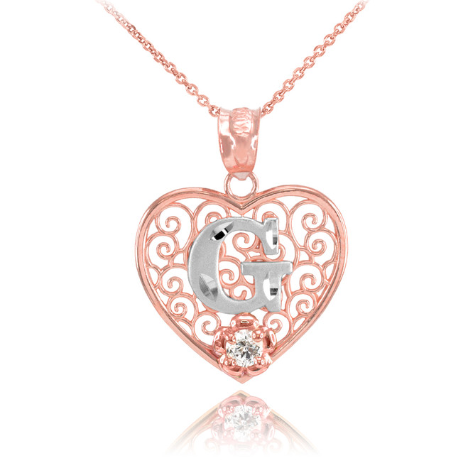 "Two Tone Rose Gold Filigree Heart ""G"" Initial CZ Pendant Necklace"