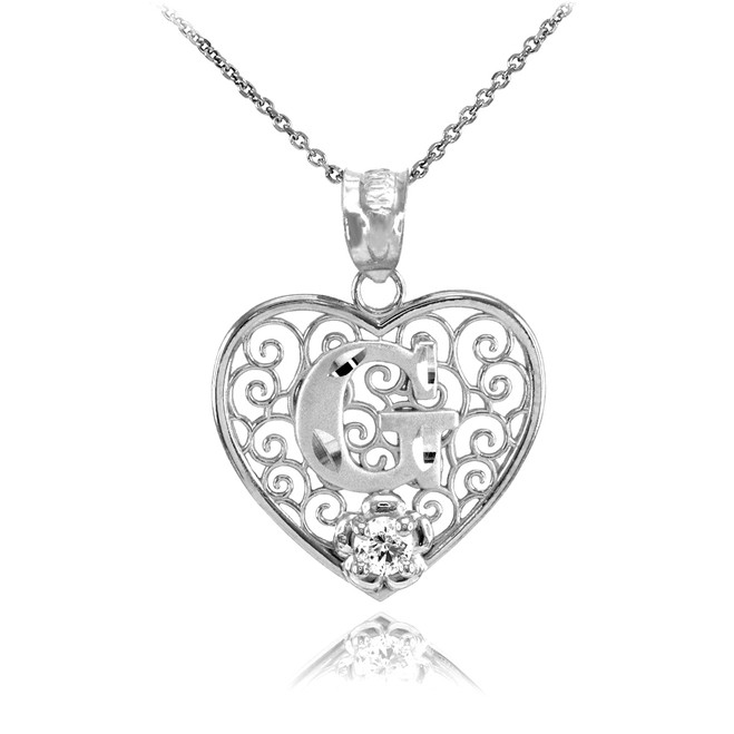 """Silver Filigree Heart """"G"""" Initial CZ Pendant Necklace"""