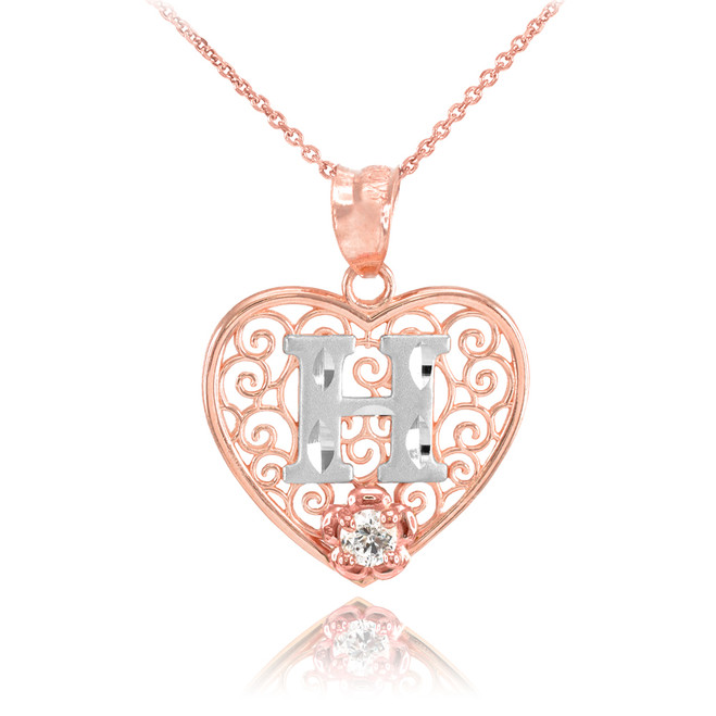 "Two Tone Rose Gold Filigree Heart ""H"" Initial CZ Pendant Necklace"