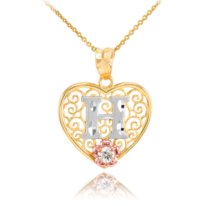 "Two Tone Yellow Gold Filigree Heart ""H"" Initial CZ Pendant Necklace"