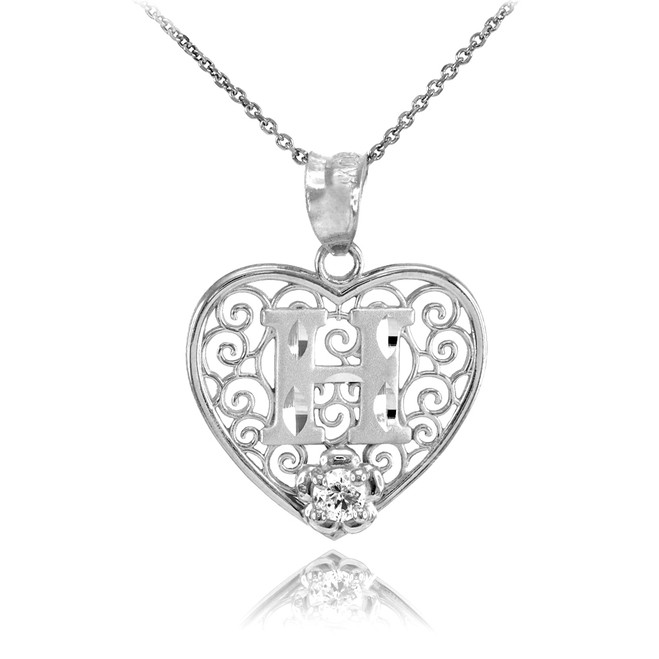"Silver Filigree Heart ""H"" Initial CZ Pendant Necklace"
