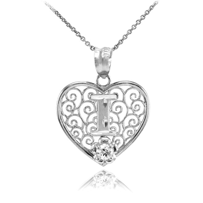 "White Gold Filigree Heart ""I"" Initial CZ Pendant Necklace"