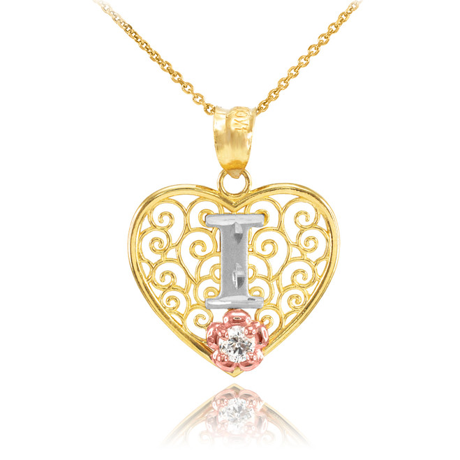 """Two Tone Yellow Gold Filigree Heart """"I"""" Initial CZ Pendant Necklace"""