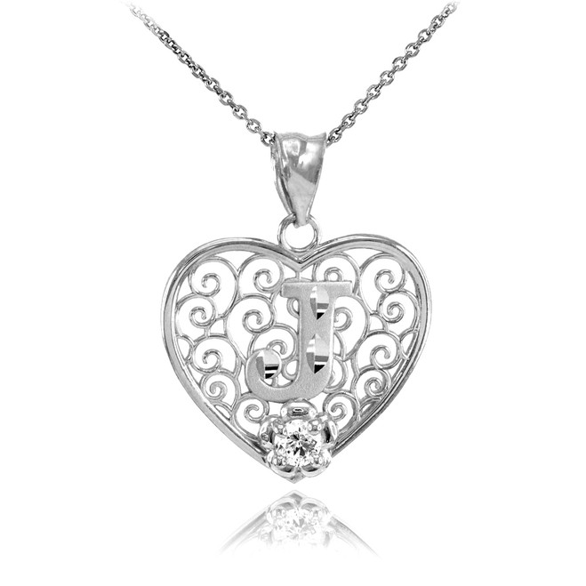 "White Gold Filigree Heart ""J"" Initial CZ Pendant Necklace"