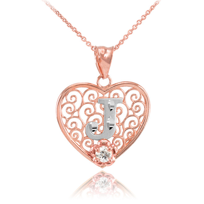 "Two Tone Rose Gold Filigree Heart ""J"" Initial CZ Pendant Necklace"