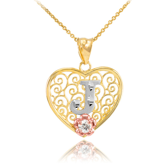 """Two Tone Yellow Gold Filigree Heart """"J"""" Initial CZ Pendant Necklace"""
