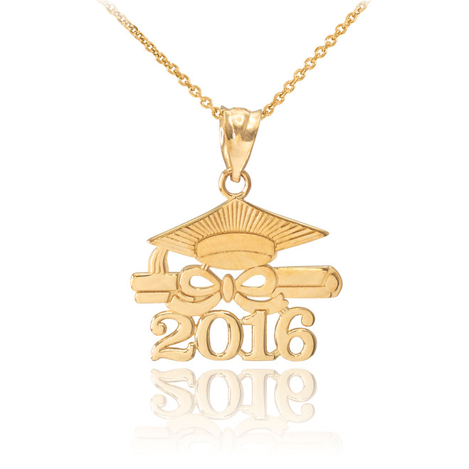 "Gold ""CLASS OF 2016"" Graduation Pendant Necklace"
